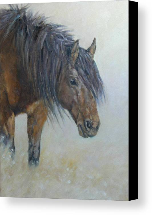Horse Wild Desert Portrait Animal Mustang Canvas Print featuring the painting Patriarch Of The Plains by Ruth Andre