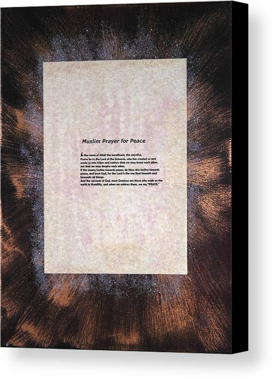 Peace Canvas Print featuring the painting Peace Prayers - Muslim Prayer For Peace by Emerald GreenForest