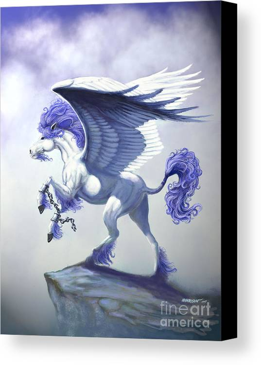 Pegasus.fantasy Canvas Print featuring the digital art Pegasus Unchained by Stanley Morrison