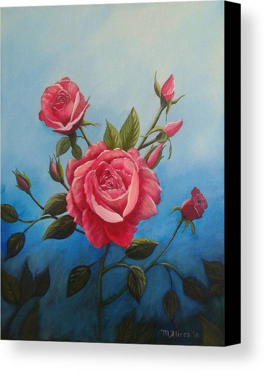 Roses Canvas Print featuring the painting Pink Roses by Migdalia Alicea
