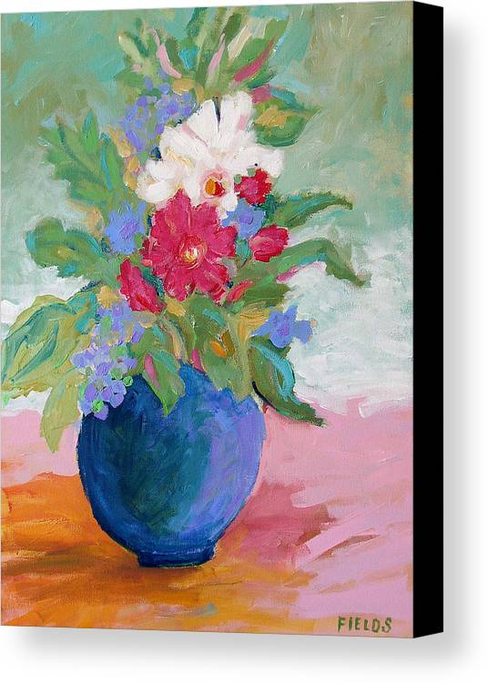 Flowers Canvas Print featuring the painting Pink Tablecloth by Karen Fields