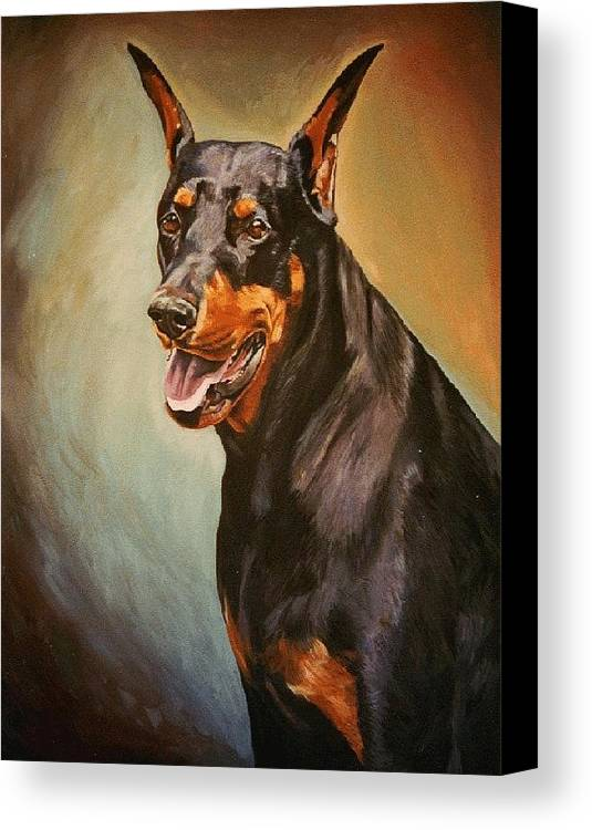 Dog Canvas Print featuring the painting Portrait Of Zeus by Kathleen Heese