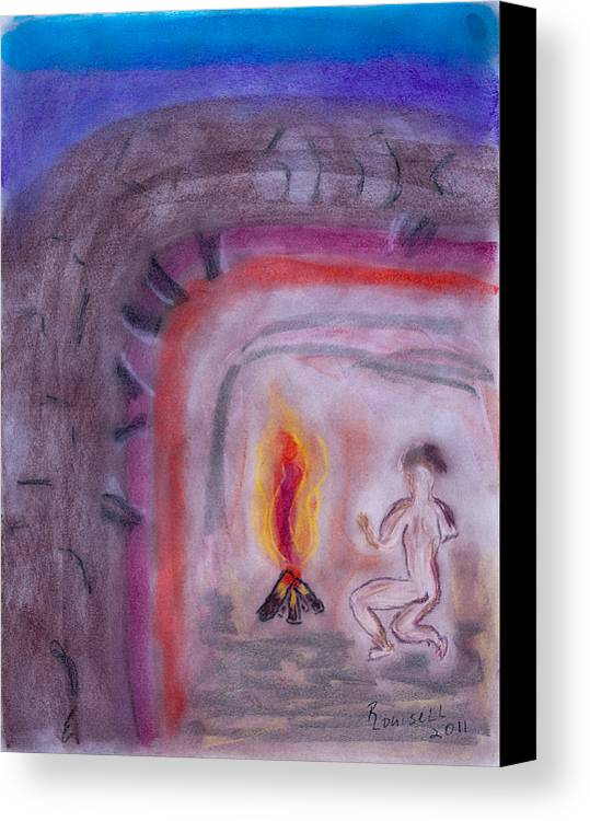 Primitive Canvas Print featuring the pastel Primitive Man Fireside by Robyn Louisell