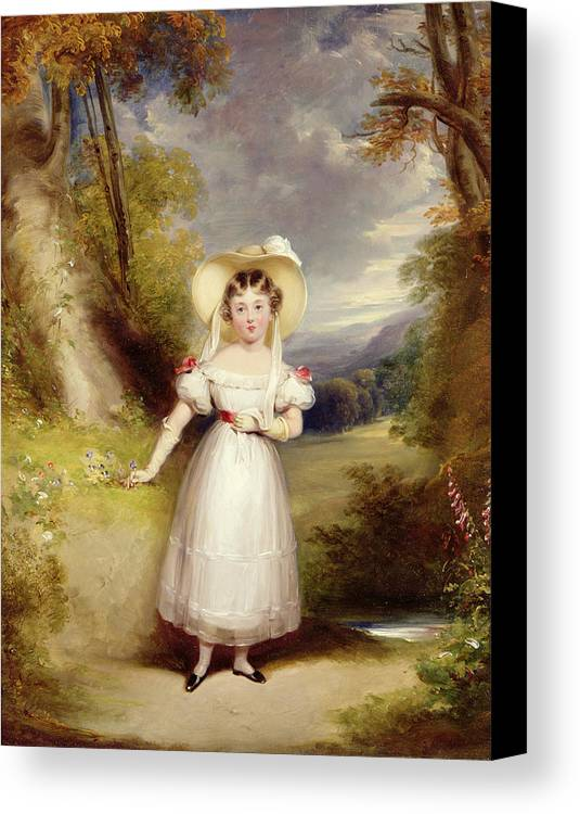 Princess Canvas Print featuring the painting Princess Victoria Aged Nine by Stephen Catterson the Elder Smith