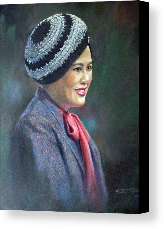 Portrait Canvas Print featuring the painting Queen Sirikit by Chonkhet Phanwichien