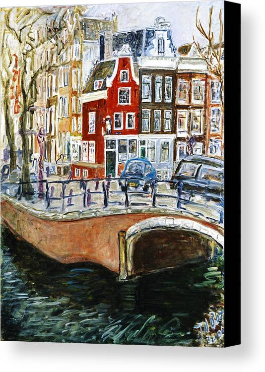 Amsterdam Cityscape Canal Water House Bridge Canvas Print featuring the painting Reguliersgracht by Joan De Bot