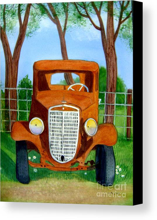 Car Canvas Print featuring the painting Retired by Teresa Boston