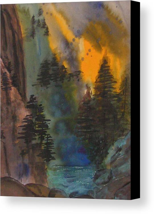 Mountains Canvas Print featuring the painting Rocky Mountain High by Yael Eylat-Tanaka