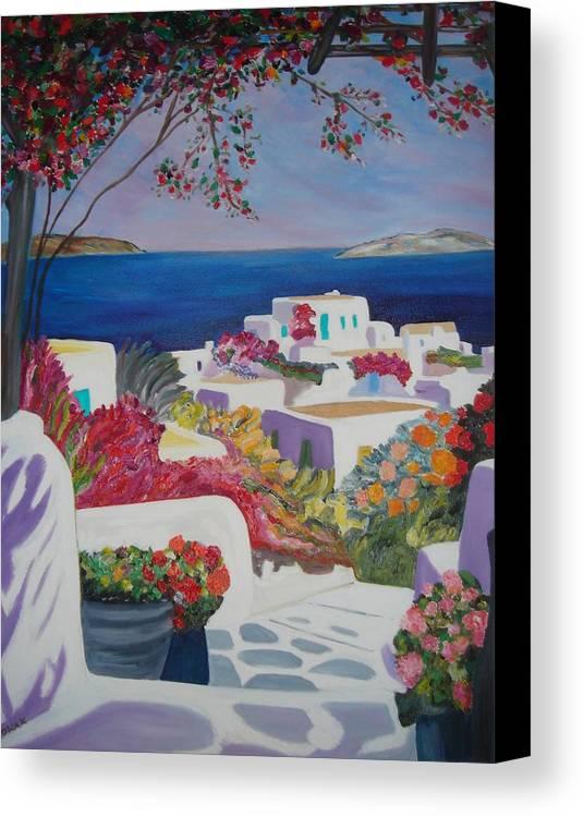 Greece Canvas Print featuring the painting Santorini by Dorota Nowak