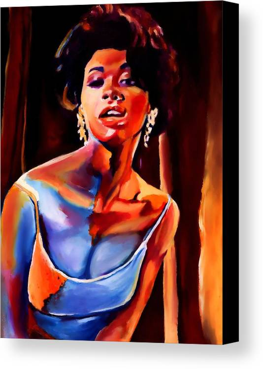 American Canvas Print featuring the painting Sarah Vaughan by Vel Verrept