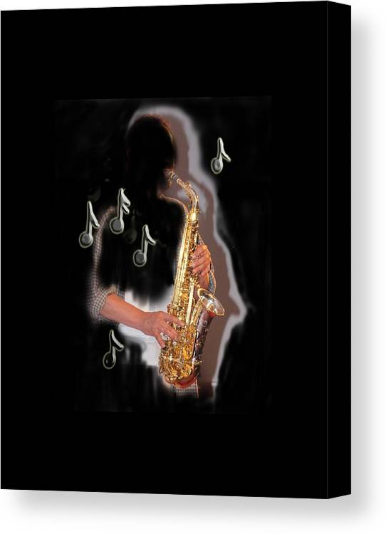 Sax Canvas Print featuring the photograph Saxophone Player Abstract by Tom Conway
