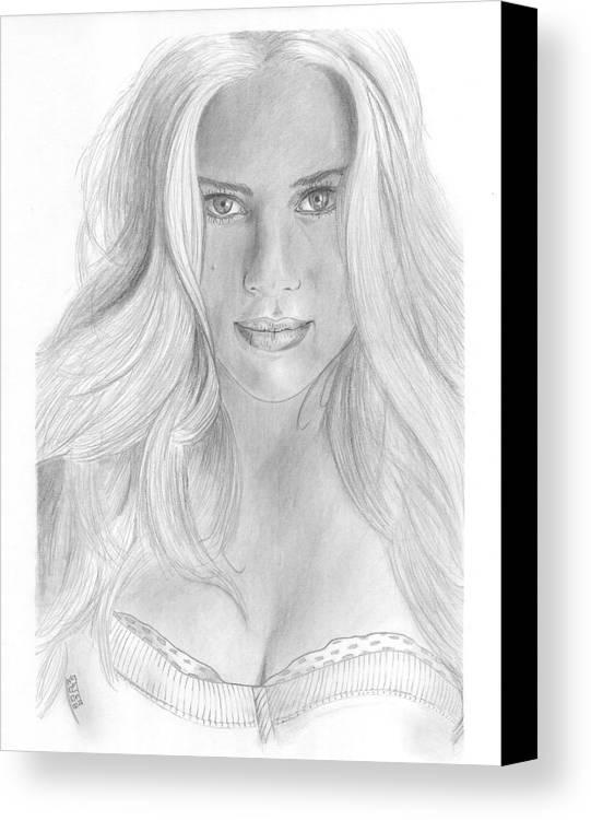 Scarlett Johannson Canvas Print featuring the drawing Scarlett Johannson by David Seter