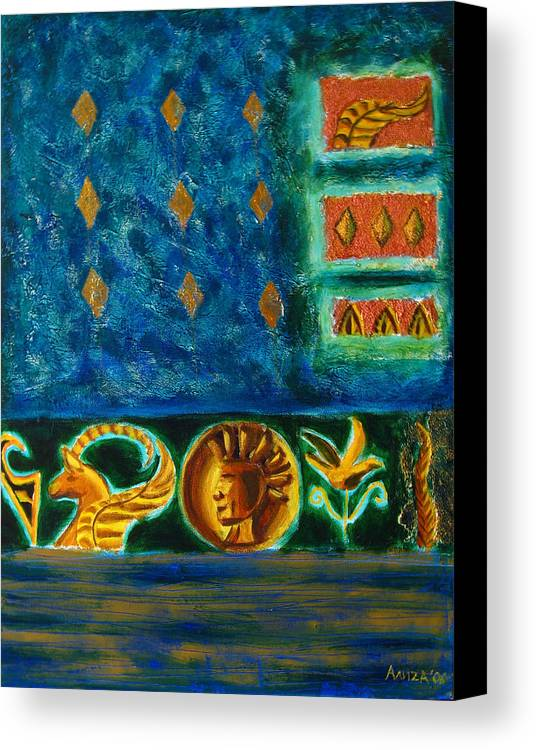 Abstract Canvas Print featuring the painting Scythian Gold by Aliza Souleyeva-Alexander