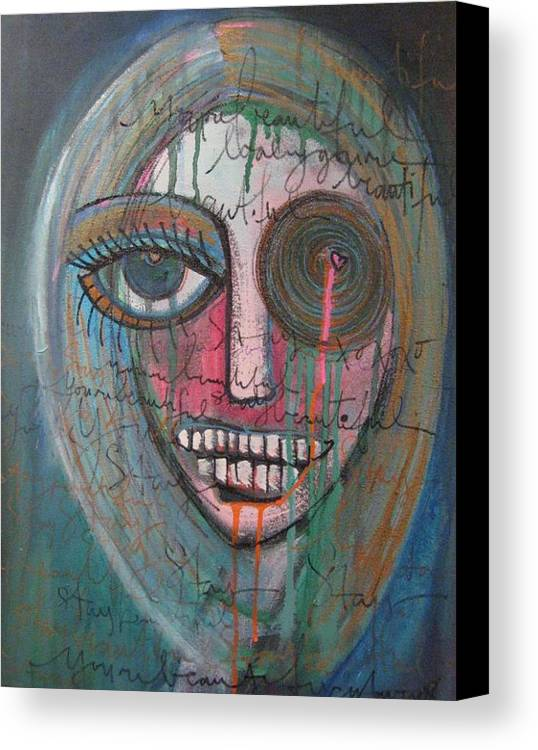 Self Portraits Canvas Print featuring the painting Self Portrait Youre Beautiful by Laurie Maves ART