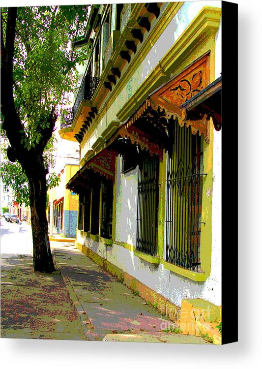Darian Day Canvas Print featuring the photograph Shady Street By Darian Day by Mexicolors Art Photography