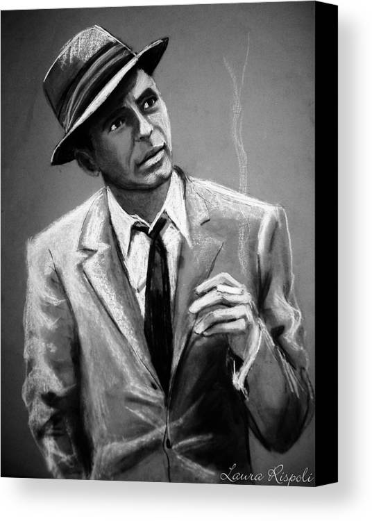 Frank Sinatra Canvas Print featuring the drawing Sinatra by Laura Rispoli