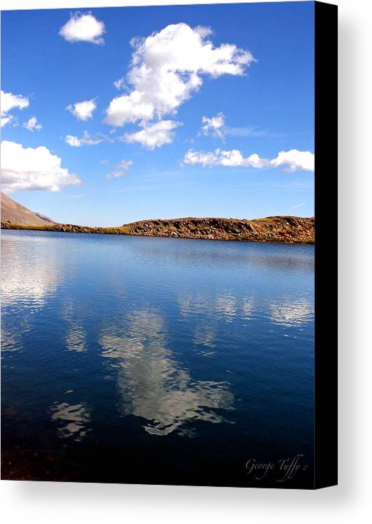 Sky Clouds Reflections Water Mountains Colorado Lakes Canvas Print featuring the photograph Sky Reflections by George Tuffy