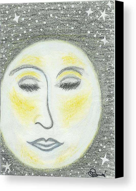 Moon Canvas Print featuring the drawing Sleepy Moon by Ingrid Szabo