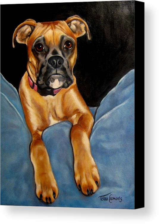 Dog Canvas Print featuring the painting sPepper by Terri Clements