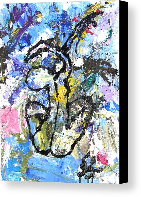Abstract Canvas Print featuring the painting Spirits Of My Palette- Nude by Santiago Chavez