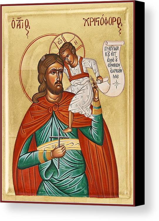Icon Byzantine Canvas Print featuring the painting St Christopher by Julia Bridget Hayes