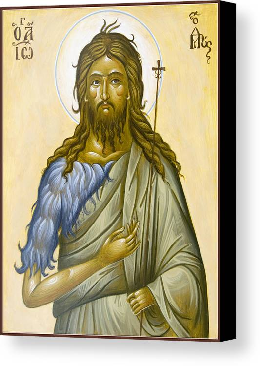 Icon Canvas Print featuring the painting St John The Forerunner by Julia Bridget Hayes