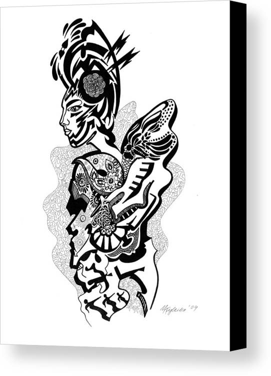 Surreal Canvas Print featuring the drawing Summer by Yelena Tylkina