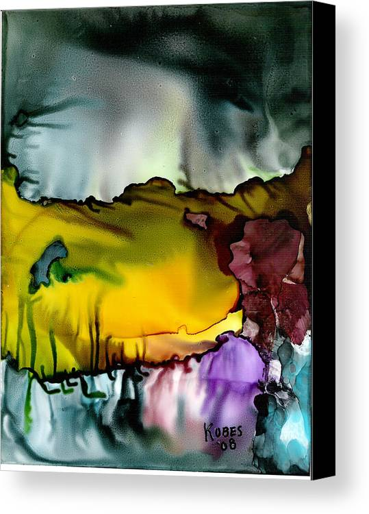 Abstract Canvas Print featuring the mixed media Sunless Sea by Susan Kubes