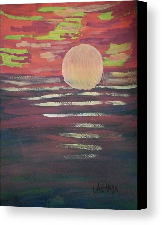 Sunset Canvas Print featuring the painting Sunset-3 by Marialyn Laganza