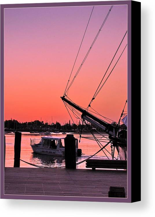 Sunset Canvas Print featuring the photograph Sunset At Port by Alexey Dubrovin