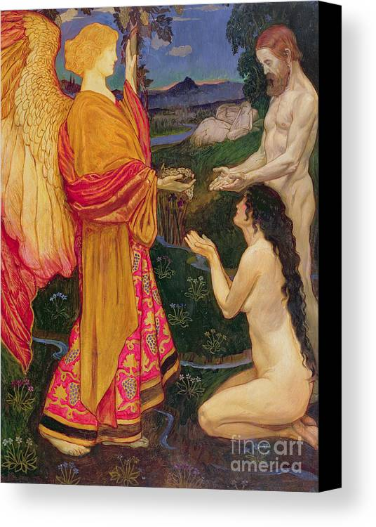 Old Testament; Genesis; Expulsion; Garden Of Eden; Renaissance; Nude; Angel; Punishment Canvas Print featuring the painting The Angel Offering The Fruits Of The Garden Of Eden To Adam And Eve by JBL Shaw