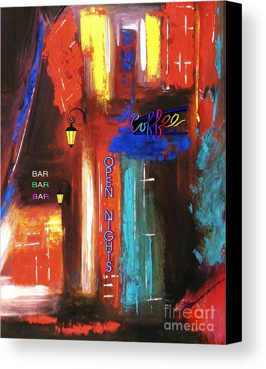 Coffee Shop Canvas Print featuring the mixed media The Coffee Shop by Mimo Krouzian