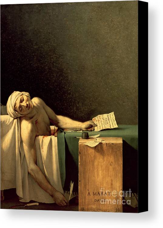 The Canvas Print featuring the painting The Death Of Marat by Jacques Louis David