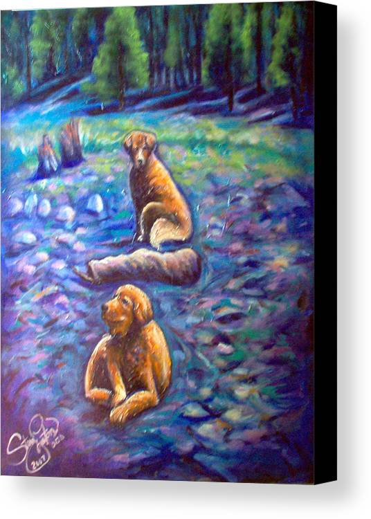 Animals Canvas Print featuring the painting The Golden's by Steve Lawton