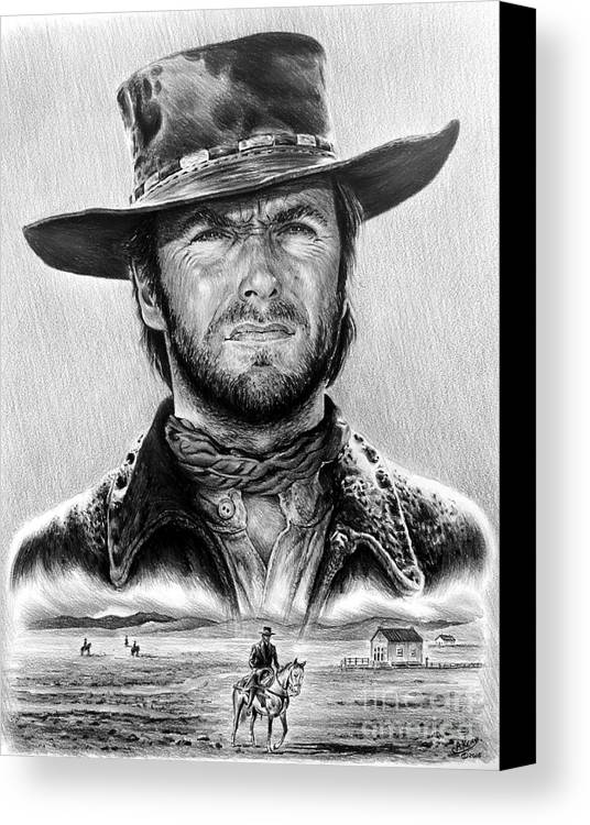 Clint Eastwood Canvas Print featuring the drawing The Stranger Bw 1 Version by Andrew Read