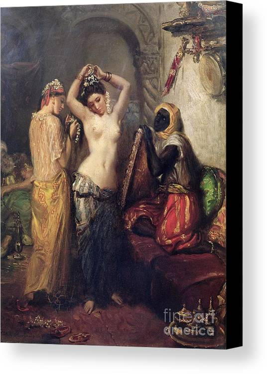 The Canvas Print featuring the painting The Toilet In The Seraglio by Theodore Chasseriau