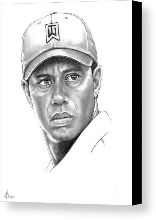 Tiger Woods Canvas Print featuring the drawing Tiger Woods by Murphy Elliott