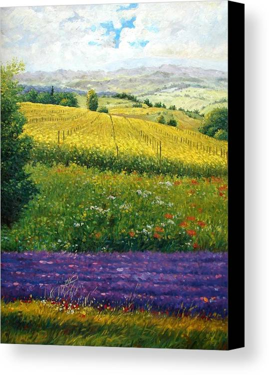 Lavender Canvas Print featuring the painting Tranquility by Aziz Mohammed