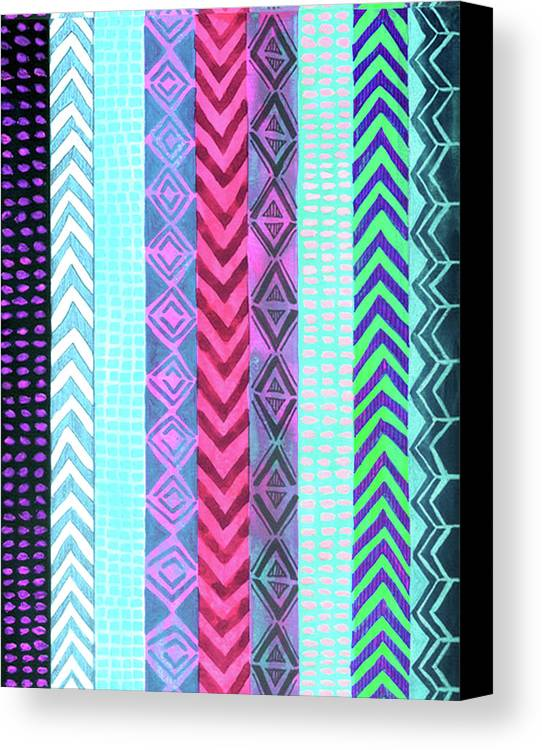 Painting Canvas Print featuring the painting Tribal Pattern 04 by Aloke Creative Store