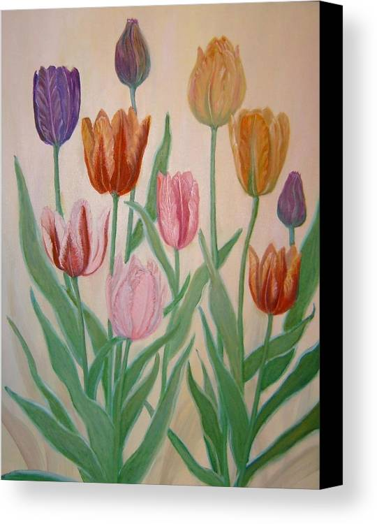 Flowers Of Spring Canvas Print featuring the painting Tulips by Ben Kiger