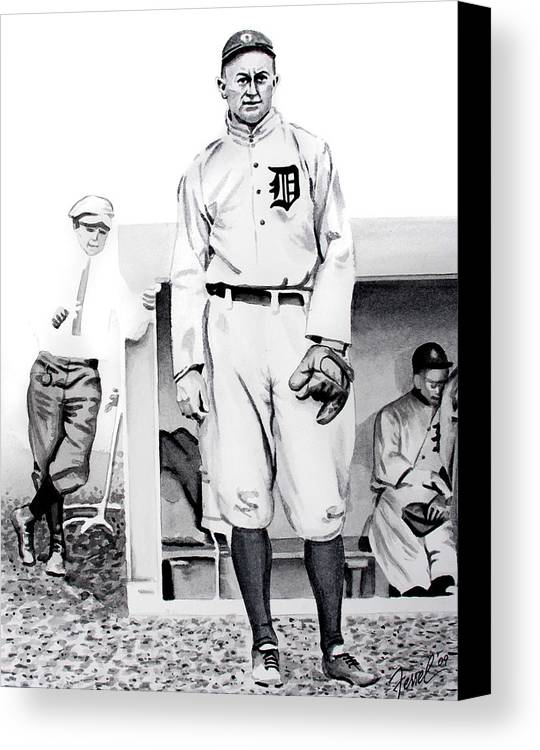 Baseball Canvas Print featuring the painting Ty Cobb by Ferrel Cordle