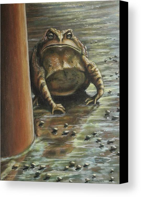Toad Canvas Print featuring the painting Under The Boardwalk by Colleen Maas-Pastore