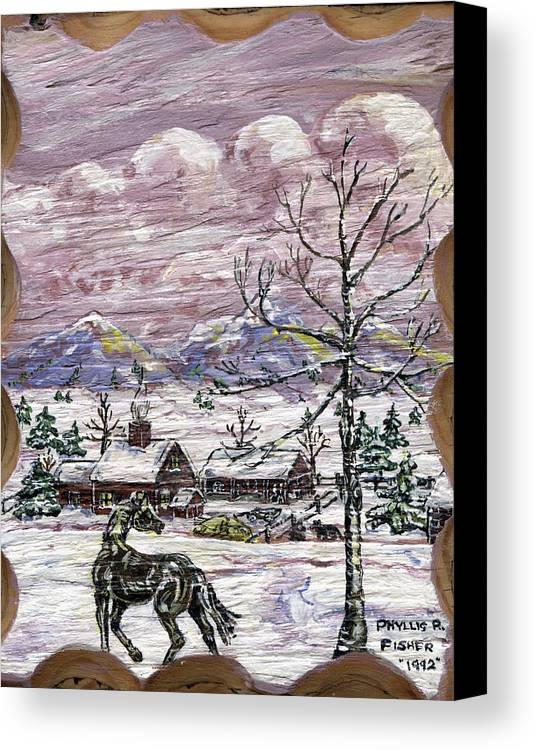 Snow Scene Canvas Print featuring the painting Unexpected Guest II by Phyllis Mae Richardson Fisher