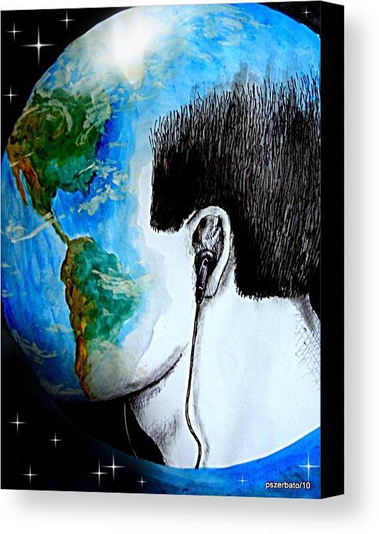 Sons Canvas Print featuring the digital art Unique Way To Hear The Sounds Of Nature by Paulo Zerbato