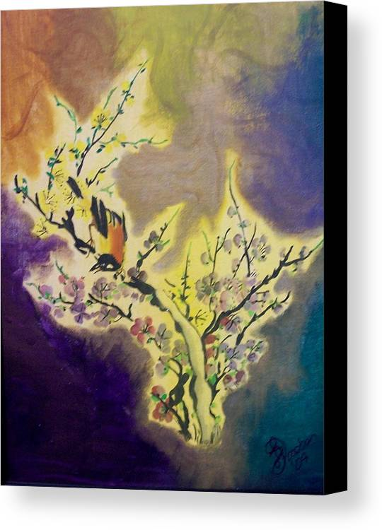 Bird Canvas Print featuring the painting Vintage One by Laurette Escobar