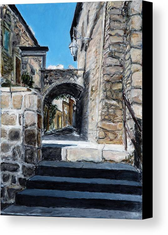 Italy Town Archway Steps Indigo Walls Blue Canvas Print featuring the painting Viterbo Archway by Joan De Bot