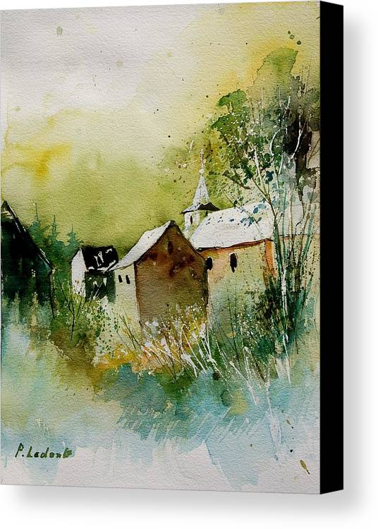 Landscape Canvas Print featuring the painting Watercolor Sosoye by Pol Ledent