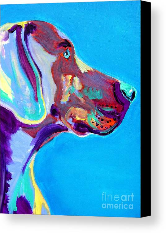 Dog Canvas Print featuring the painting Weimaraner - Blue by Alicia VanNoy Call