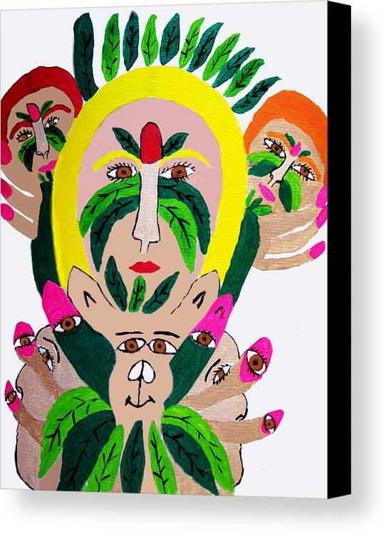 Canvas Print featuring the painting Wild Look Of The Green Plant Lady by Betty Roberts