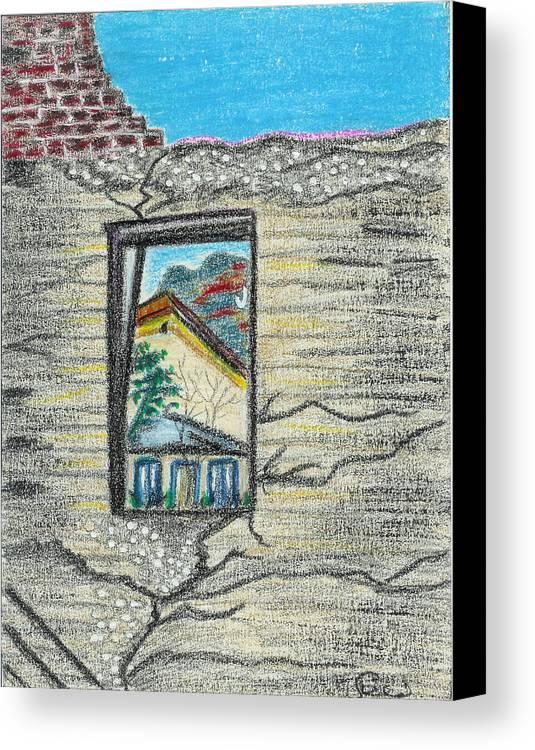 Window Canvas Print featuring the drawing Window Jerome Az by Ingrid Szabo
